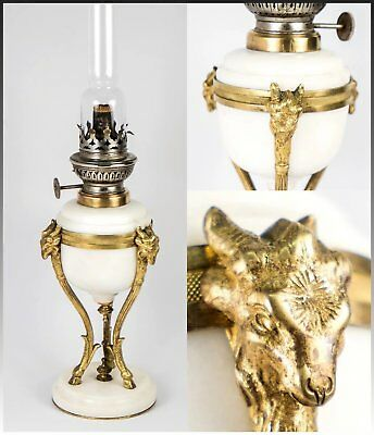 """Antique French Gilt Bronze & White Marble Empire Style 15.5"""" Oil Lamp, Ram Heads"""