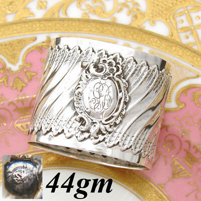 Antique French Sterling Silver Napkin Ring, Ornate Louis XVI or Rococo Pattern