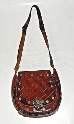 Vintage Mexican Hand Tooled Brown Floral Leather Shoulder Bag with METAL Clasp