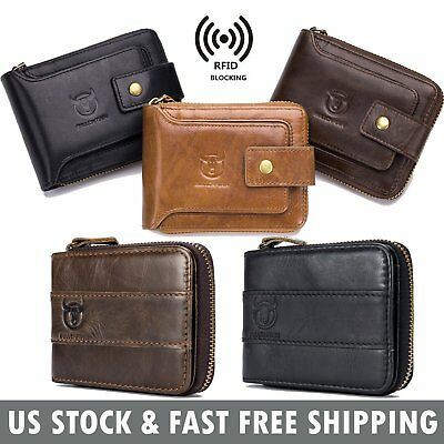 Genuine Leather Mens Women Wallet RFID Blocking Zipper Bifold Purse Card Holder