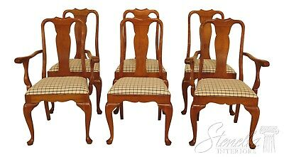 46374EC: Set Of 6 STICKLEY Cherry Valley Queen Anne Dining Room Chairs