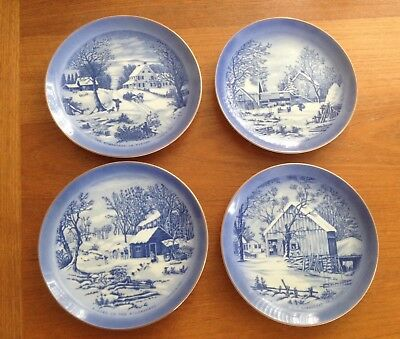 Set of 4 Currier & Ives Home in Winter Homestead Farmer's Blue Plates Gold Edge