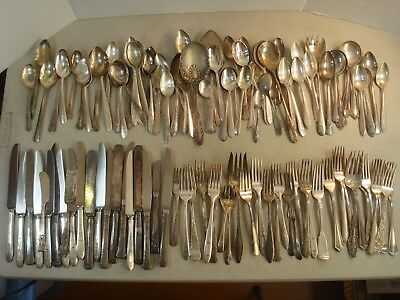 121 PC Lot SILVERPLATE SCRAP Flatware ARTS & CRAFTS Some Usable Nice Variety #A