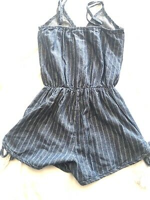 Vintage Havana M  8 10 Romper Blue Striped Chambray Boutique Girls