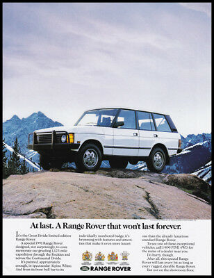 Land Rover Range Rover automobile print ad 1990 white car in mountains