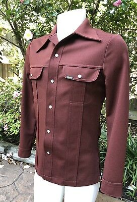 VTG MENS LEE PEARL SNAP SHIRT & PANTS Sz M BROWN POLY 70's MADE USA