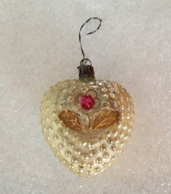 Antique German Mercury Glass Christmas Ornament Heart And Flower