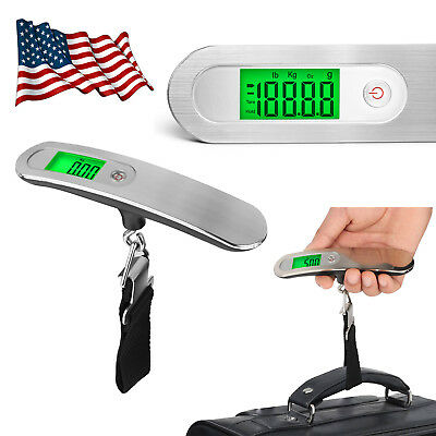 110lb LCD Portable Travel Scales Tare Hanging Digital Suitcase Luggage Scale US