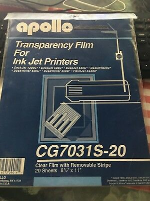 Apollo Transparency Film for Ink Jet Printers - New still sealed - 20 sheets