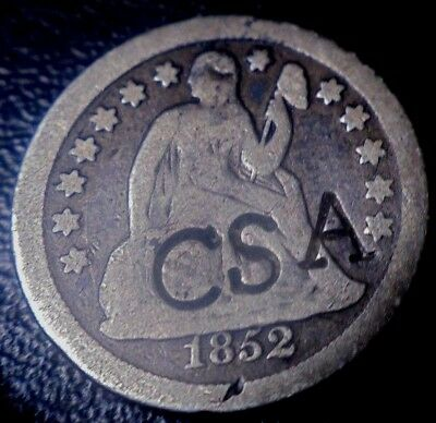 Very Rare 1852 Seated Liberty Dime Silver Confederate Csa Counterstamp Coin