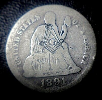 Rare 1891 Seated Liberty Silver Dime Coin Masonic Mason Templar Counterstamp!
