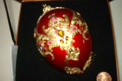 Jay Strongwater Red Persian Egg w/ Swarovski Crystals w/ Box