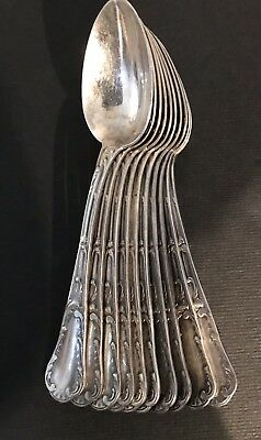 20thc french silverplate Christofle 10 coffee/tea spoons old marly chrysanthemum
