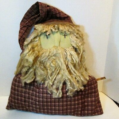 PrImItIvE LoOk GrUnGy Country Old Rusty LARGE SANTA HEAD Stuffed Doll