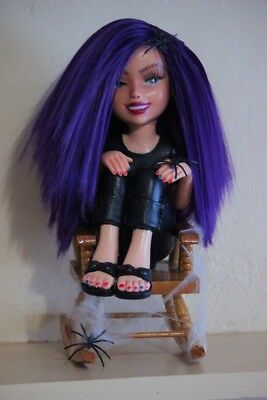 OOAK Custom Repaint Goth Doll | Lorna Muffet with Rocking Chair & Spiders