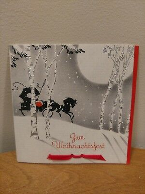 """1940's 50's Christmas Greeting Card """"Zum Weihnachtsfest"""" Black Horse Buggy"""