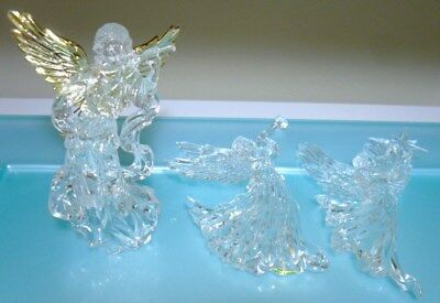3 Clear Acrylic Angel Christmas Tree Ornaments