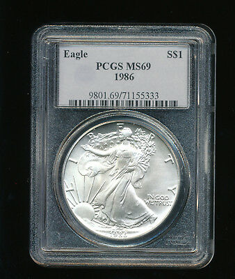 1986-P American Silver Eagle $1 ASE PCGS MS 69