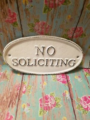 No Soliciting Sign Cast Iron Shabby Chic Rustic Farmhouse Vintage Style