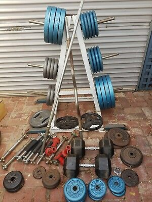 Gym Weights Barbells Dumbbells and Rack