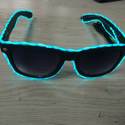 grün + Blau EL Wire LED Atzenbrille Leuchtbrille Glasses Brille Shapped Party