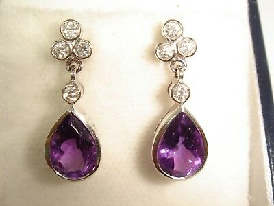 A Beautiful Pair of Solid 18ct White Gold Amethyst & Diamond Earrings