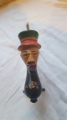 Vintage unused German black forest carved digital mans head wooden pipe