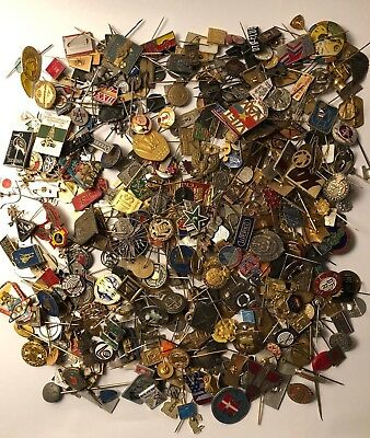 Huge mixed lot of old vintage pin badge