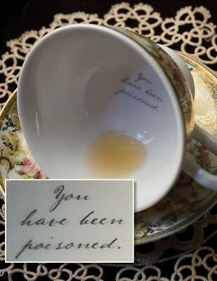 Victorian Trading Co You've Been Poisoned Porcelain Teacup & Saucer