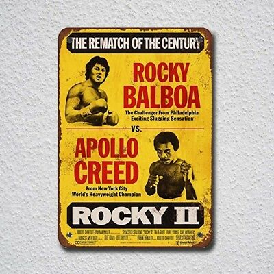 Rocky Balboa Vs. Apollo Creed Vintage Look Tin Sign Metal Sign Metal Signs