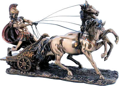 Achilles Greek Mythology Hero Warrior on Chariot bronze statue17x28cm /6,69x11in