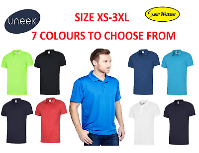 Uneek Mens Ultra Cool Polo Shirt 140gsm 100% Polyester Breathable Fabric 125 lot
