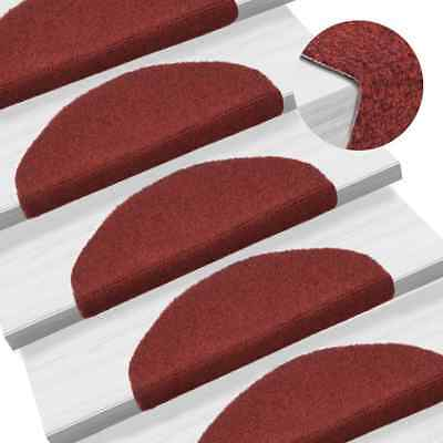 132700 vidaXL 15 pcs Self-adhesive Stair Mats Needle Punch 65x21x4 cm Red - Untr