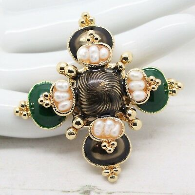 Vintage Style Real BAROQUE RICE PEARL and ENAMEL Maltese Cross BROOCH Jewellery