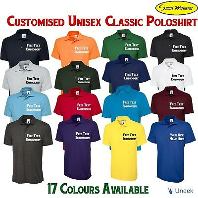 Embroidered Custom Printed Personalised Uneek UC101 Classic Polo shirt Work Wear