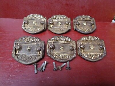 6 Antique Drop Pull Handles W/ Slotted Screws #23