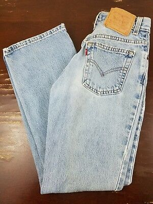 Vintage Levis 517 Slim Fit Boot Cut Denim Blue Jeans Womens 26x29 Made In USA