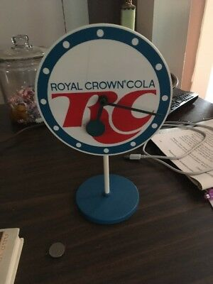 """Rare 6.5"""" Rc Royal Crown Cola Clock On Stand Works Great"""
