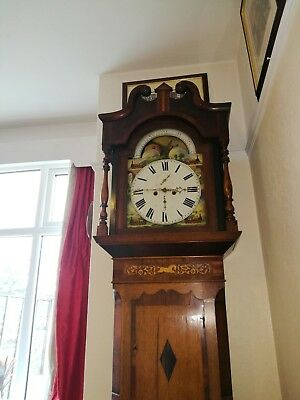 Antique Grandfather clock 8 day train's...