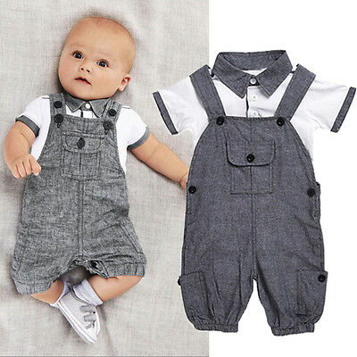 2PCS Newborn Boy Gentleman Outfit Clothes Shirt Tops+Bib Pants Jumpsuit Set 2018