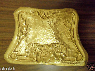 Antique Victorian Brass Pressed Arts & Crafts PANSIES Card Coin Dresser Pin TRAY