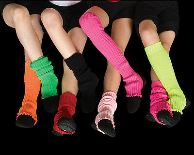 Leg warmers, Stirrup Bright Colours 40cm, Fluro, Dance, Costume, 80 s,inc Pink