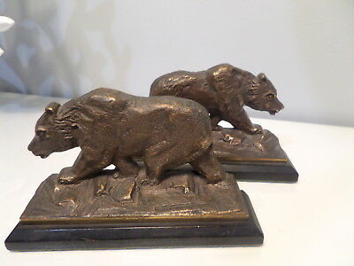 Antique Bear Cast Bronze Clad Copper Bookends Wildlife Metal Art Sculpture 1920s