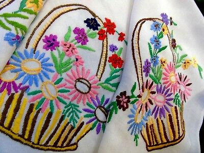 "Pretty,Vintage,Hand Embroidered Tablecloth ""Baskets of Flowers""..31"" x 36""..GC"