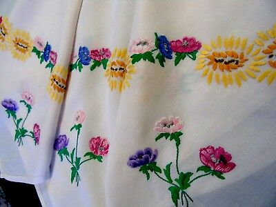 "Pretty Vintage Hand Embroidered Tablecloth,Anemones & Sunflowers 32"" x 35"""