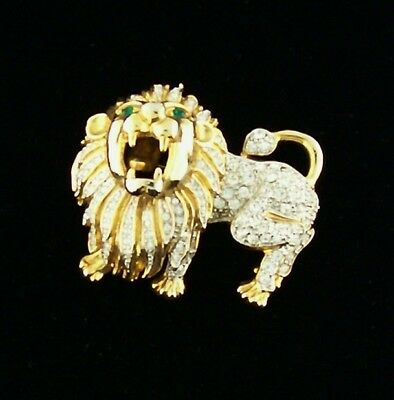 Large Gold Tone Clear Pave Rhinestone Roaring Lion Pin Brooch