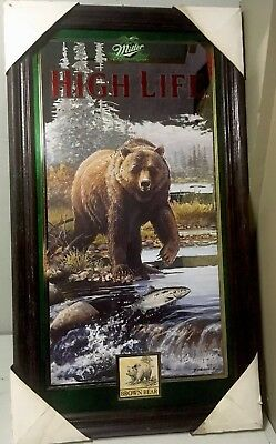 Miller high life beer mirror bar sign Brown Bear 1st of 4 in series #4 1997