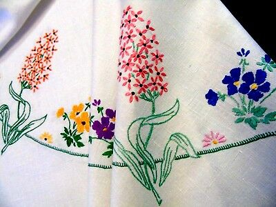 "Pretty,Vintage,Hand Embroidered Tablecloth,Circle of Garden Flowers,34""x34"" GC"