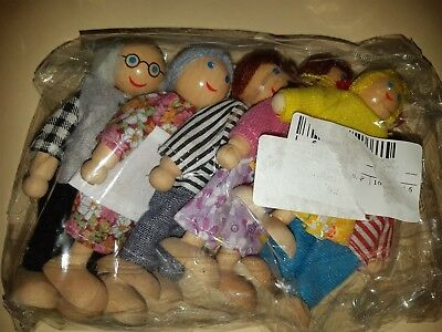 Family of wooden dolls figurines, toys, mother father children, puppets, 6 units