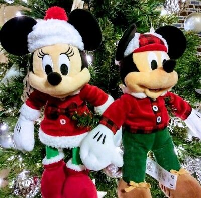 Disney Mickey Mouse Minnie Mouse Holiday Christmas Plush 2018 Disney Collection